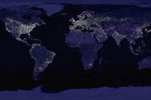 Карта мира ночью